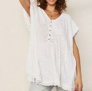 Free People Asher Henley Oversized Layer Top XS